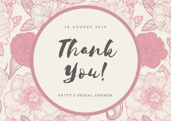 Cute Bordered Pastel Flower Wallpaper Wedding Thank You Card Templates Canva