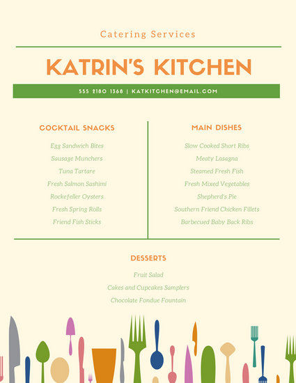 free catering menu templates - Canasbergdorfbib