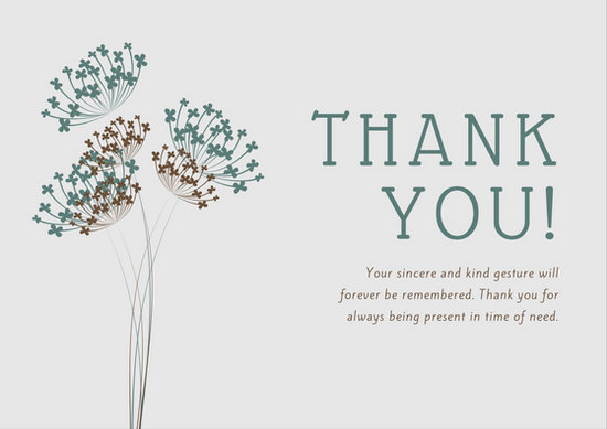 Teal and Brown Dandelion Illustration Sympathy Thank You Card