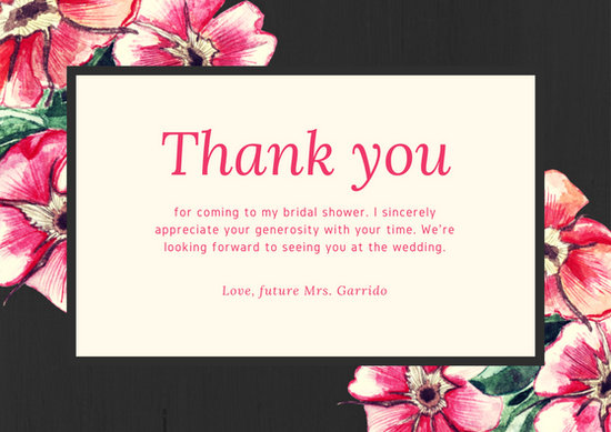 Black and Pink Painted Flowers Bridal Shower Thank You Card