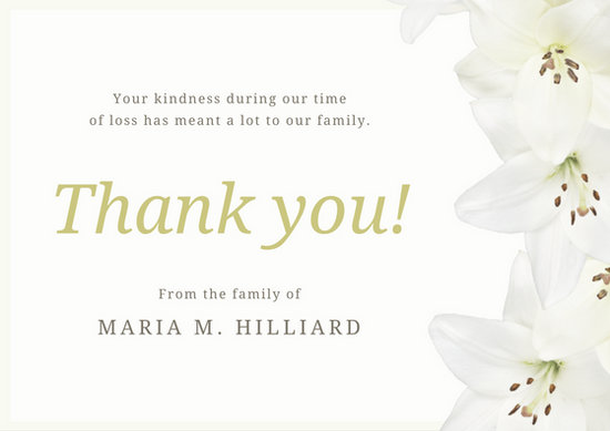 Good Quotes In The Story The Yellow Wallpaper Customize 33 Funeral Thank You Card Templates Online Canva