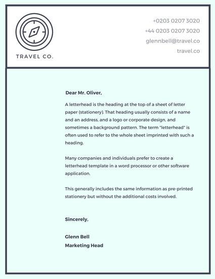 Light Blue Compass Company Letterhead - Templates by Canva - company letterhead template