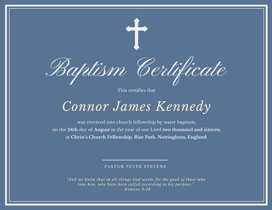 Elegant Baptismal Certificate - Templates by Canva - sample baptism certificate template