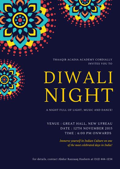 Diwali Colorful Burst Invitation Portrait Templates By