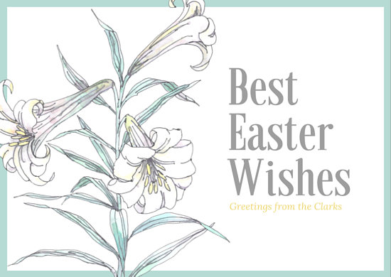 Easter Wishes Illustrated Lily Postcard - Templates by Canva