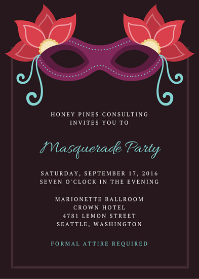 Blue with Stars Masquerade Invite - Templates by Canva
