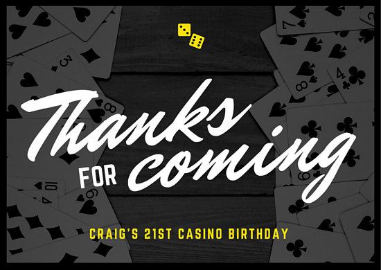 Black Casino Cards Thank You Card Free Template for Download
