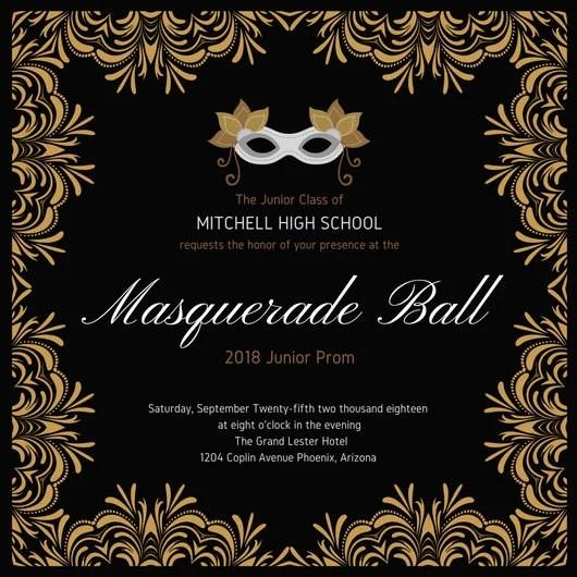 Masquerade Prom Invitation - Templates by Canva - prom invitation templates
