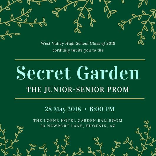 Garden Vines Prom Invitation - Templates by Canva - prom invitation templates