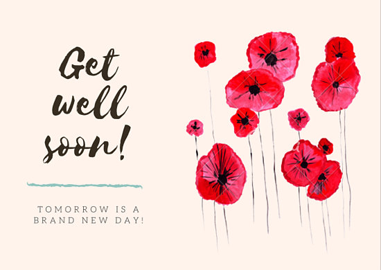 Red Flowers Get Well Soon Card - Templates by Canva - get well soon card