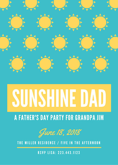Sunshine Father\u0027s Day Invitation Portrait - Templates by Canva - 's day party invitation