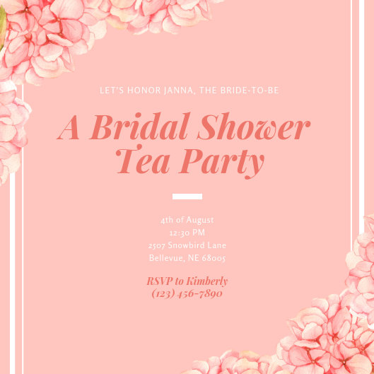 Pink Floral Painted Bridal Tea Invitation - Templates by Canva
