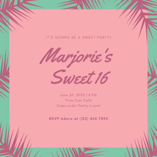 Pink and Green Tropical Sweet 16 Invitation - Templates by Canva