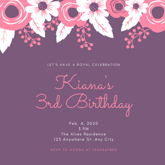 Purple and Pink Flowers Princess Party Invitation - Templates by Canva
