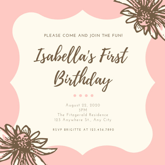 Pink Dainty Floral Girl 1st Birthday Invitation - Templates by Canva