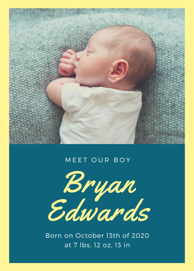 Customize 96+ Birth Announcement templates online - Canva