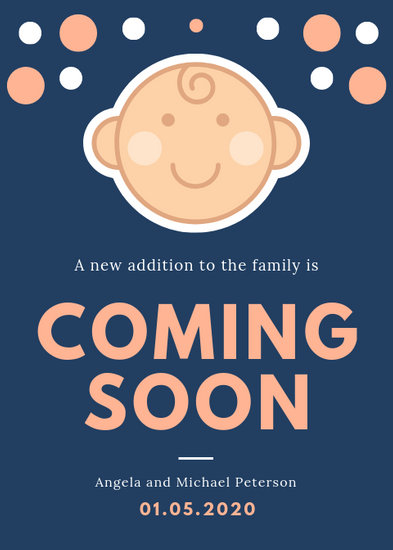 Blue and Peach Baby Illustration Pregnancy Announcement - Templates