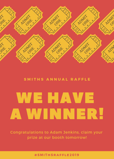 Red and Yellow Tickets Winner Announcement - Templates by Canva