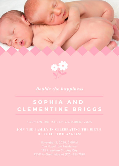 Monochromatic Pink Newborn Baby Birth Announcement - Templates by Canva