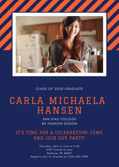 Orange and Blue Striped Graduation Announcement - Templates by Canva