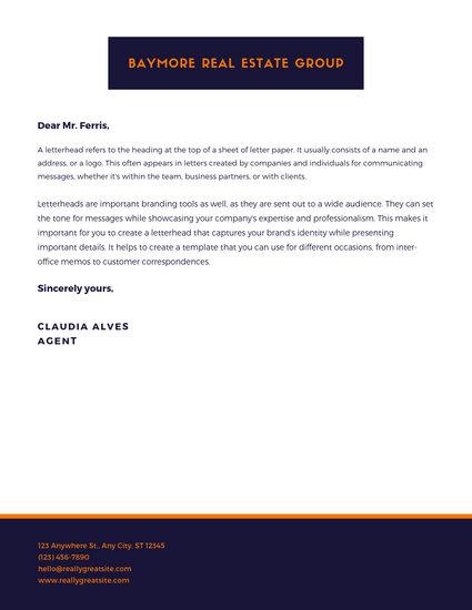 Orange Retro Real Estate Letterhead Design - Templates by Canva