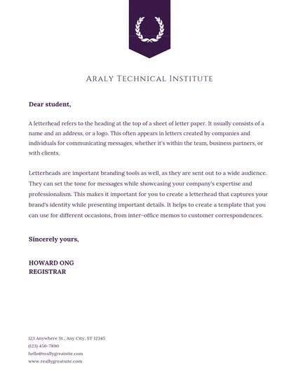 Academic Institution Letterhead Design - Templates by Canva