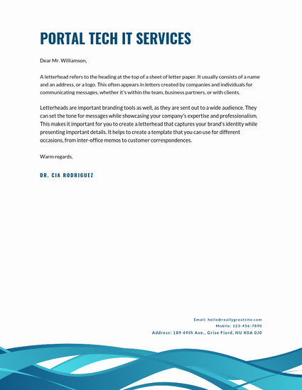 Dark Blue Abstract Curves Professional Letterhead - Templates by Canva