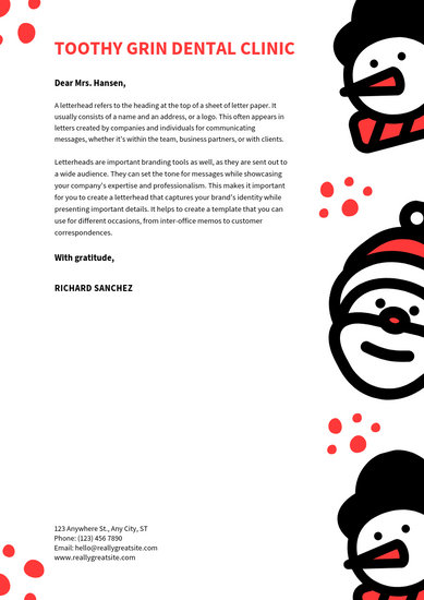 White Illustrations Christmas Letterhead - Templates by Canva