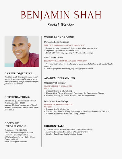 Simple Social Worker Resume - Templates by Canva