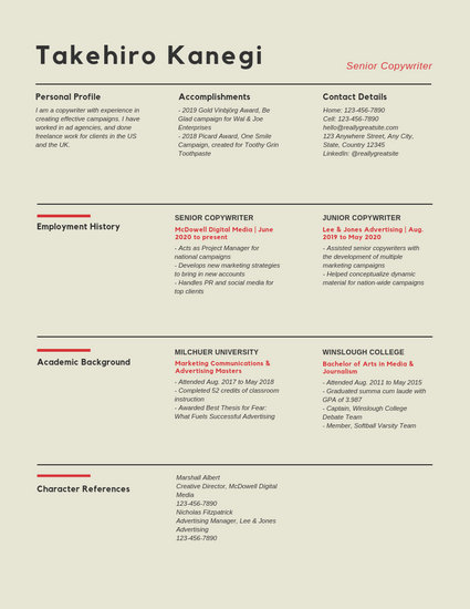 Sectioned Copywriter Resume - Templates by Canva