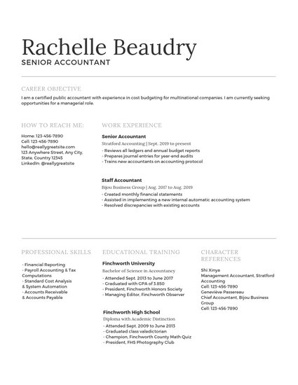 Traditional Accountant Resume - Templates by Canva