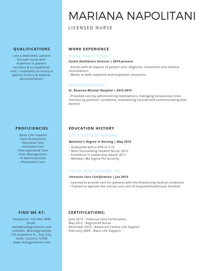 Professional Licensed Nurse Resume - Templates by Canva