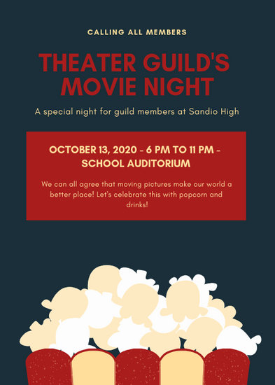 Dark Blue with Popcorn Graphic Movie Night Flyer - Templates by Canva