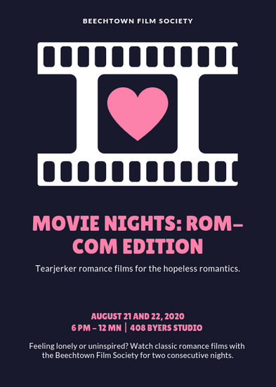 Blue with Heart Romantic Movie Night Flyer - Templates by Canva