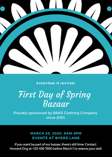 Teal Floral Spring Bazaar Flyer - Templates by Canva