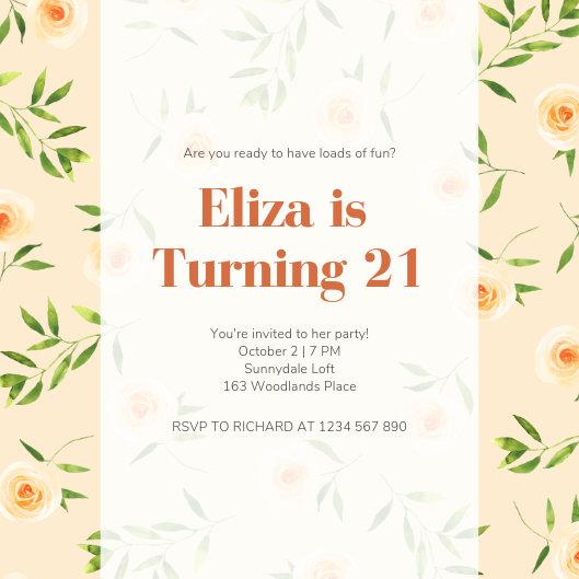 Customize 127+ 21st Birthday Invitation templates online - Canva