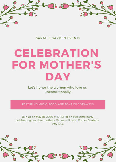 Off-White  Pink Floral Mother\u0027s Day Event Flyer - Templates by Canva