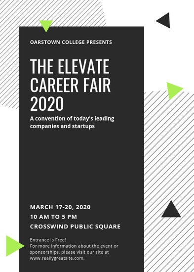 Black and White Shapes Job Fair Flyer - Templates by Canva
