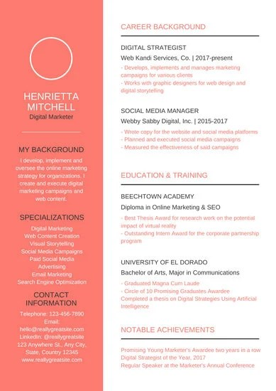 Bright Social Media Manager Resume - Templates by Canva