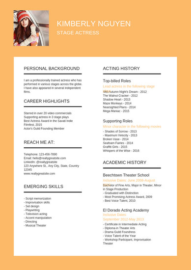 Stage and Film Actress Resume - Templates by Canva