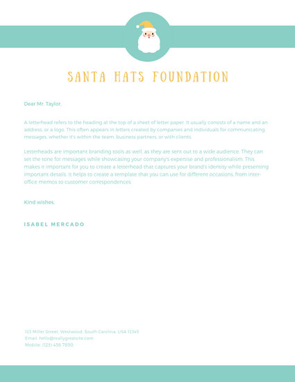 Mint Illustrated Santa Letterhead - Templates by Canva
