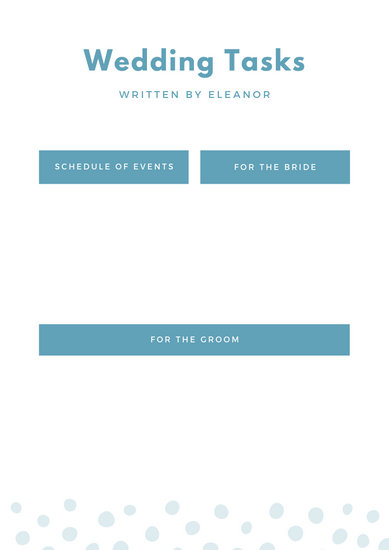 Pale Blue and Yellow Dotted Wedding Timeline Planner - Templates by