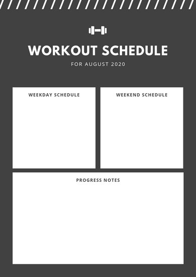 Gray Dumbell Lines Simple Gym Fitness Routine Workout Planner