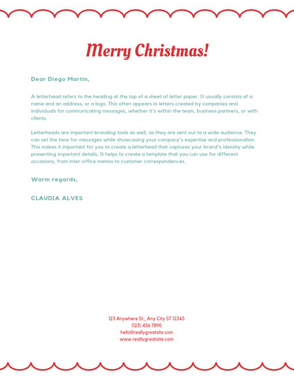 Red Icons Pattern Christmas Letterhead - Templates by Canva