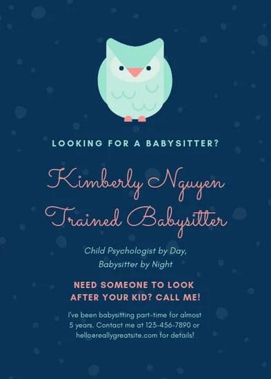 Customize 11+ Babysitting Flyer templates online - Canva