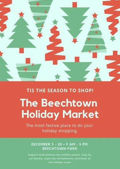 Green Christmas Tree Holiday Market Flyer - Templates by Canva