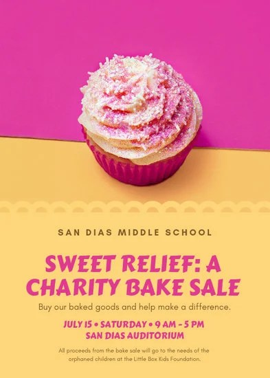 Pink and Yellow Bake Sale Fundraiser Flyer - Templates by Canva