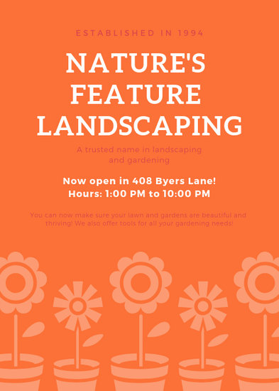 Orange Pots Flowers Girly Landscaping Home Flyer - Templates by Canva