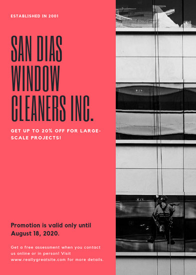 Red Window Cleaner Advertisement Marketing Flyer - Templates by Canva