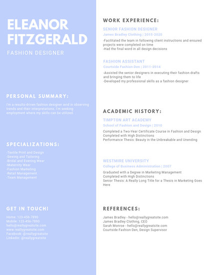 Skyblue Simple Fashion Resume - Templates by Canva